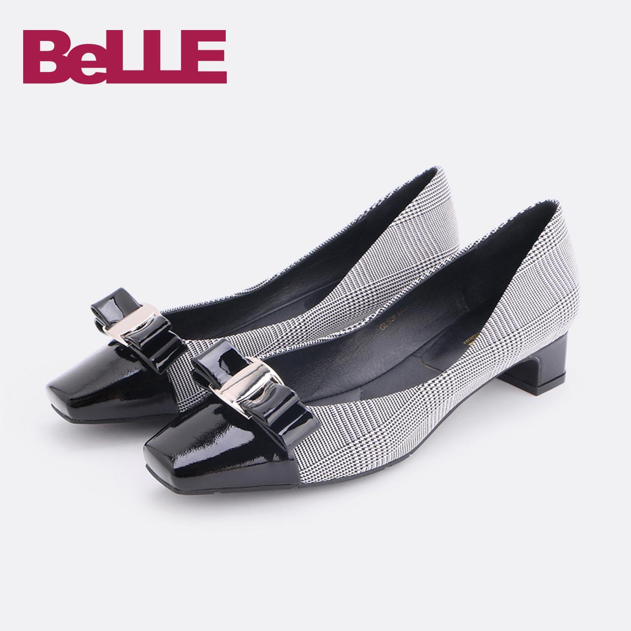 Belle-百丽单鞋2018春新款商场同款漆牛皮女布鞋S3F1DAQ8
