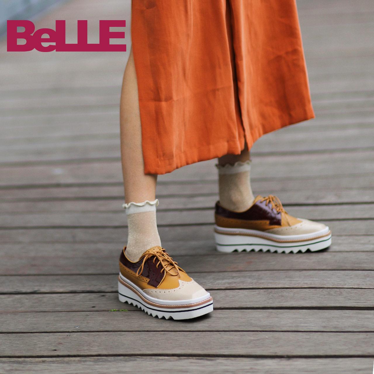 Belle-百丽女鞋松糕鞋2018秋商场同款雕花休闲单鞋T1Z1DCM8