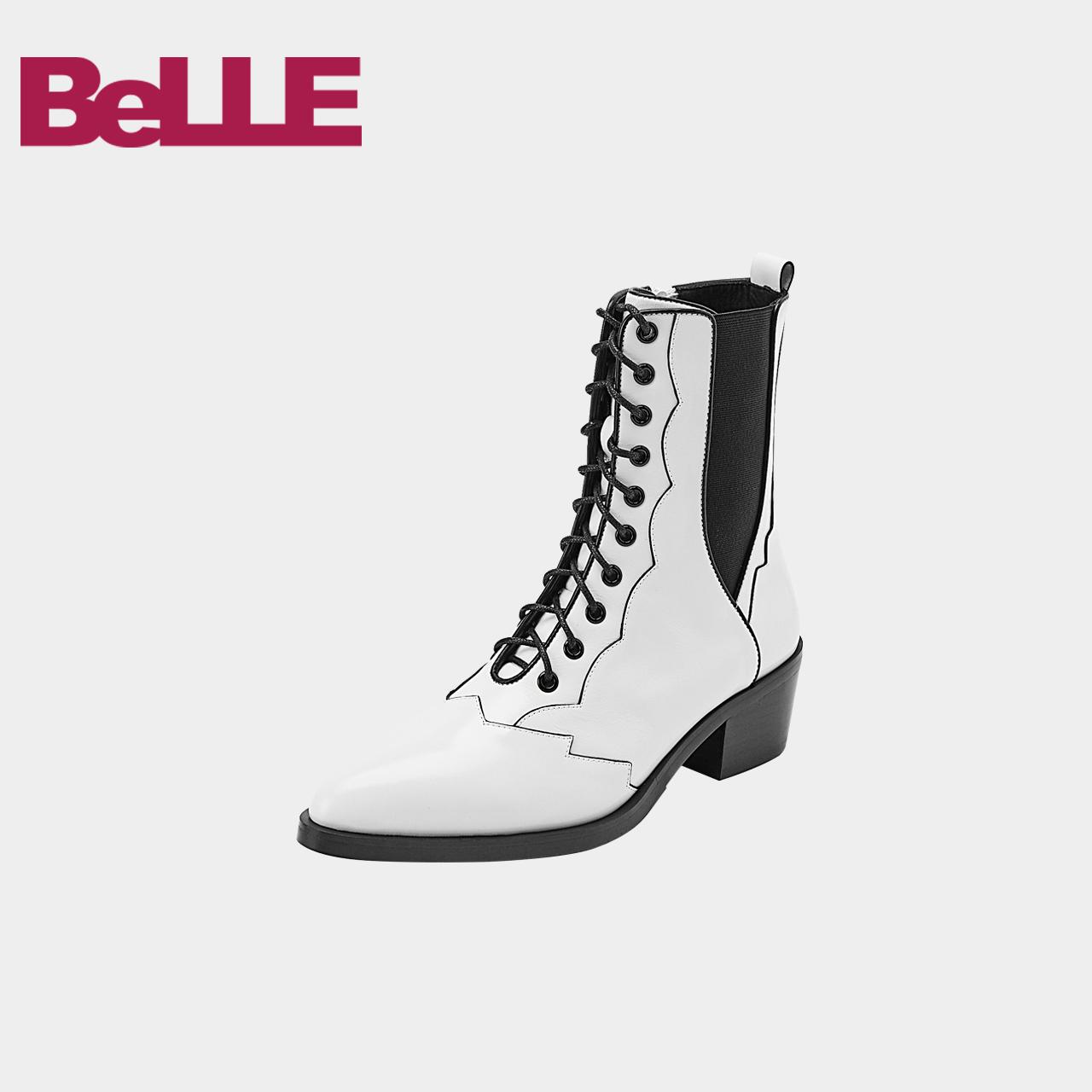 百丽2018冬商场新款光牛皮潮酷西部马丁女靴BA662DZ8