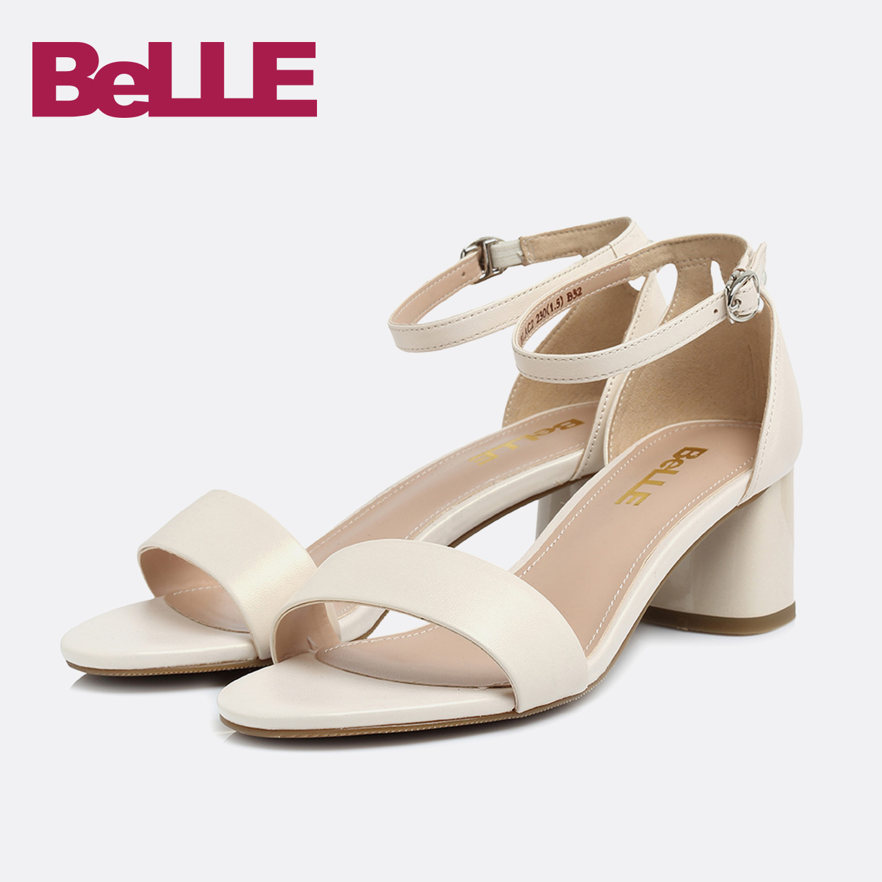 Belle-百丽凉鞋18夏新商场同款羊皮女一字带粗跟女鞋BLAC2BL8