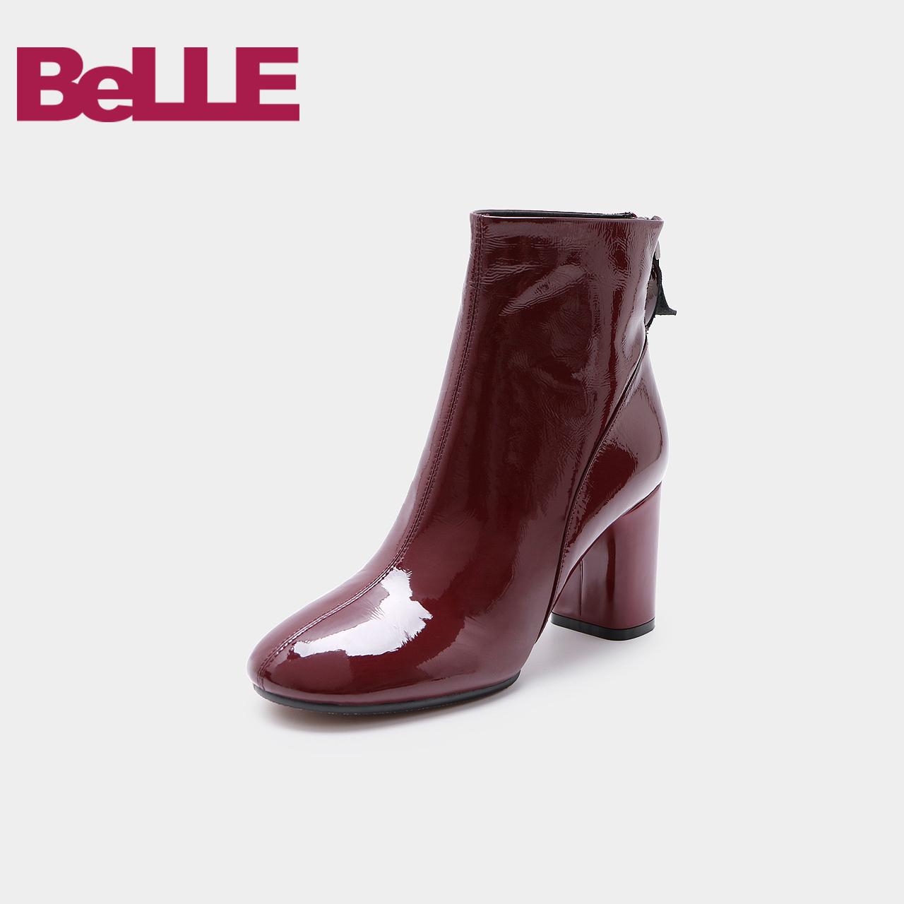 Belle-百丽2018冬季专柜新款漆牛皮革粗跟女皮靴20183DD8