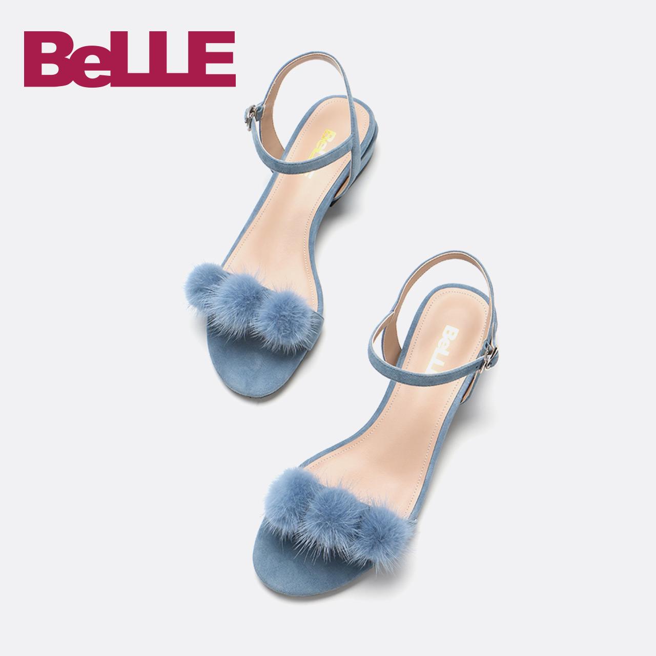 Belle-百丽凉鞋18夏新商场同款羊皮一字带平底女鞋BXL30BL8