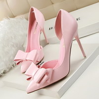 3168-2 han edition style delicate sweet bowknot heels high heel with shallow pointed mouth side hollow out shoes