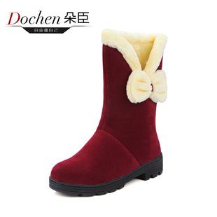 学生女雪地靴冬季保暖加绒蝴蝶结中大童防滑棉靴厚底中筒靴亲子鞋