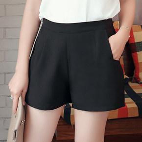宽松高腰雪纺短裤