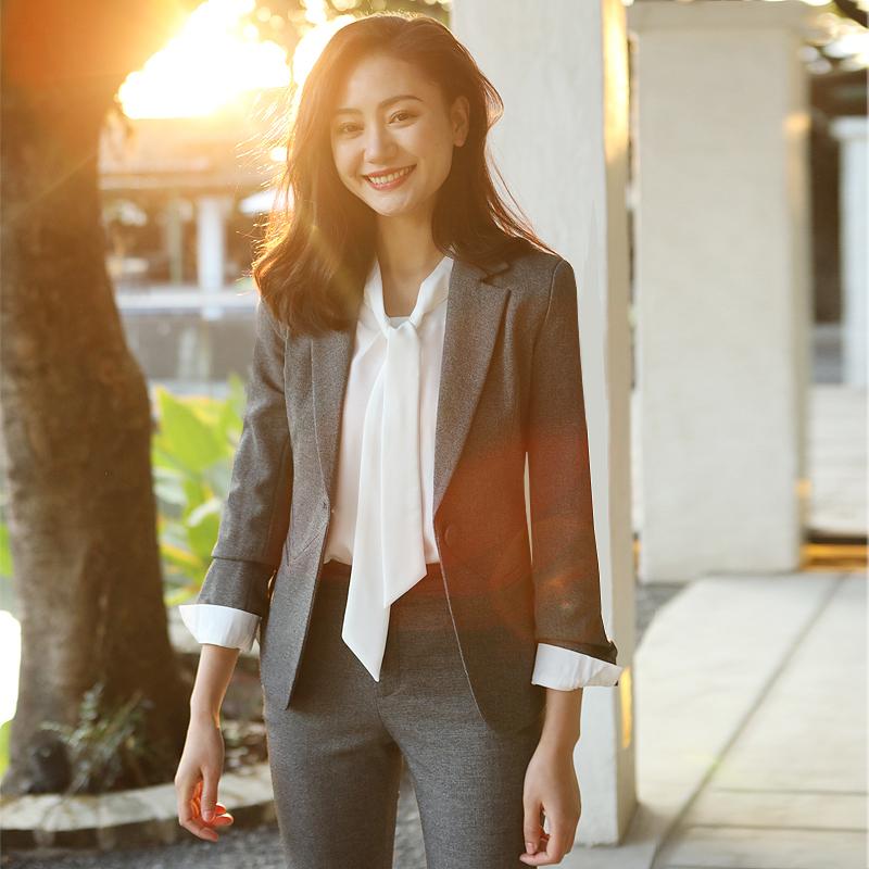 时尚职业装套装2018秋季新款西装套装工装女士工作服正装学生面试