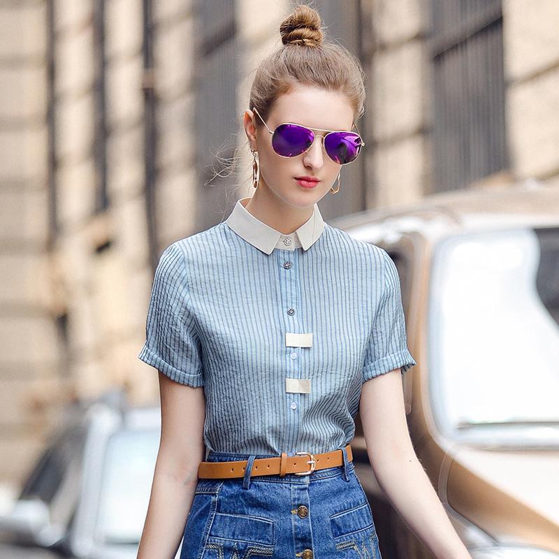 短袖条纹衬衫女2018夏装新款欧洲站百搭显瘦气质OL衬衣雪纺衫上衣