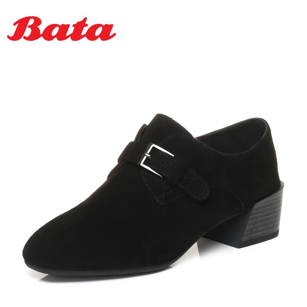 Bata-拔佳2018专柜同款方头粗跟皮带扣羊绒皮女单鞋8291AM8