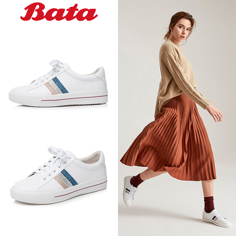 Bata-拔佳2018秋新款休闲平底女单鞋运动系带小白鞋牛皮TSY01CM8