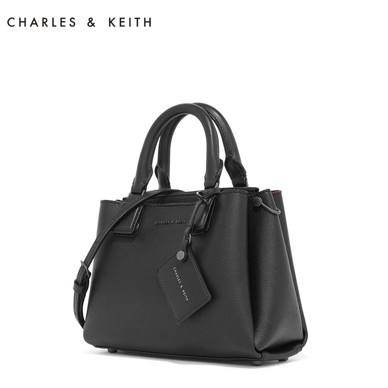 CHARLES&KEITH 单肩包 CK2-30270116纯色吊牌装饰女士手提单肩包