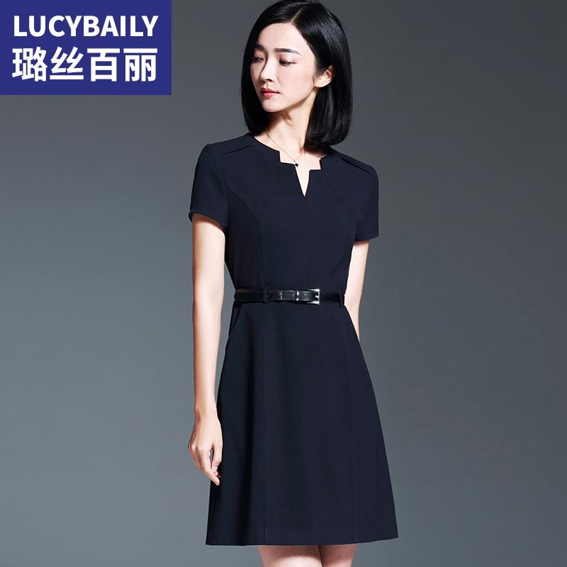 璐丝百丽藏蓝色V领连衣裙套装女短袖职业裙子2018夏季新款一步裙