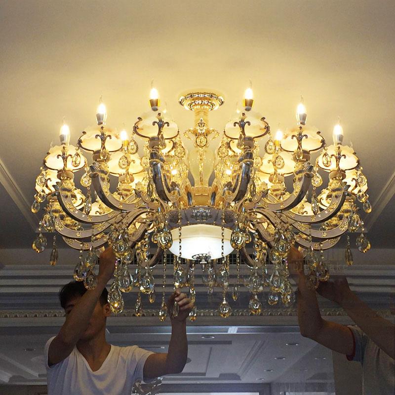 新款欧式水晶吊灯客厅灯大气餐厅灯锌合金奢华蜡烛玉石复式楼灯饰