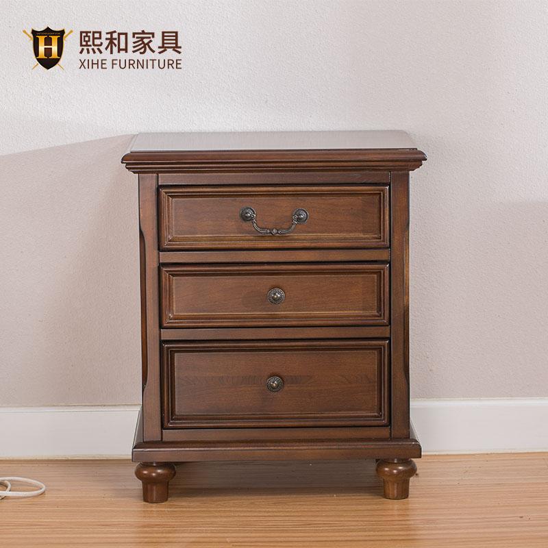 实木床头柜卧室家具简约美式边角柜储物抽屉环保水性漆床头柜熙和