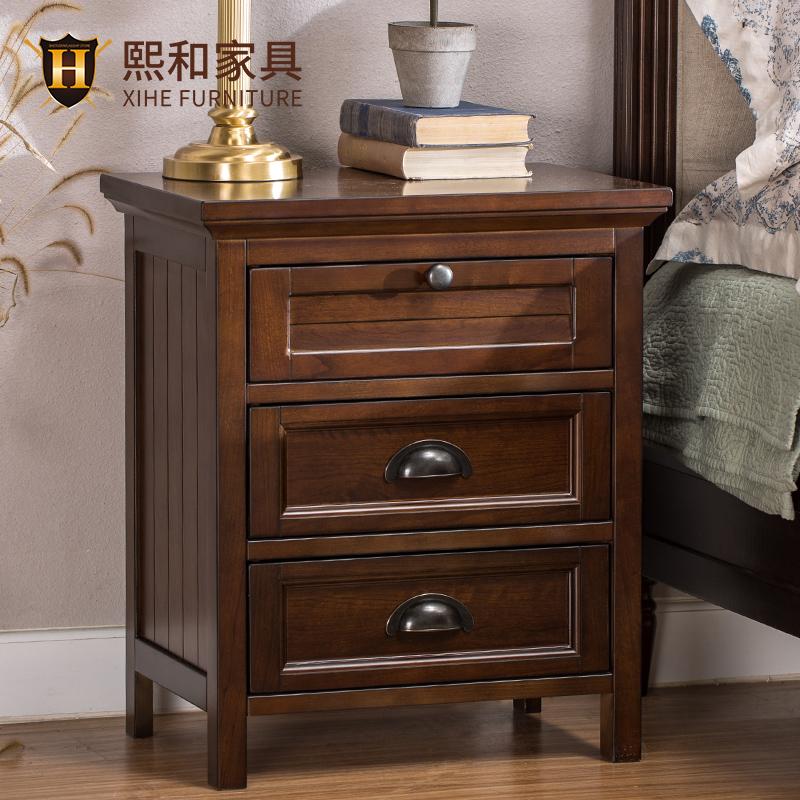 实木床头柜简约美式收纳柜边柜卧室抽屉储物柜环保水性漆熙和家具