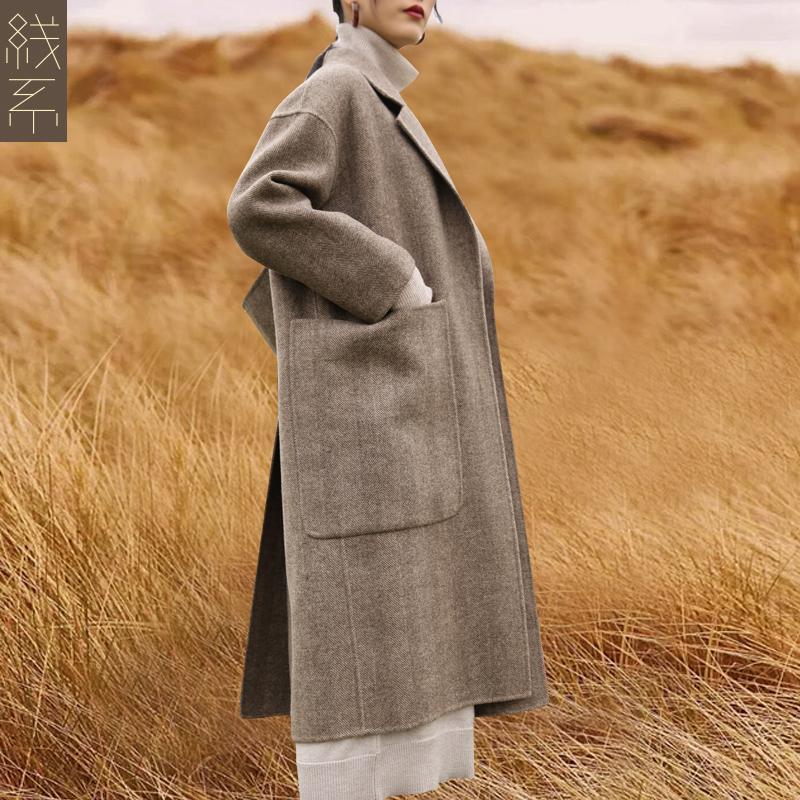 阿尔巴卡双面羊驼绒大衣女中长款2018新款冬无羊绒赫本风毛呢大衣