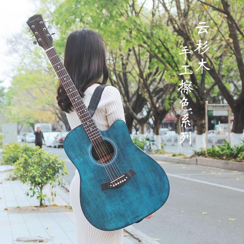 卡摩迩复古41寸云杉民谣初学者木吉他40寸新手入门吉它男女jita琴