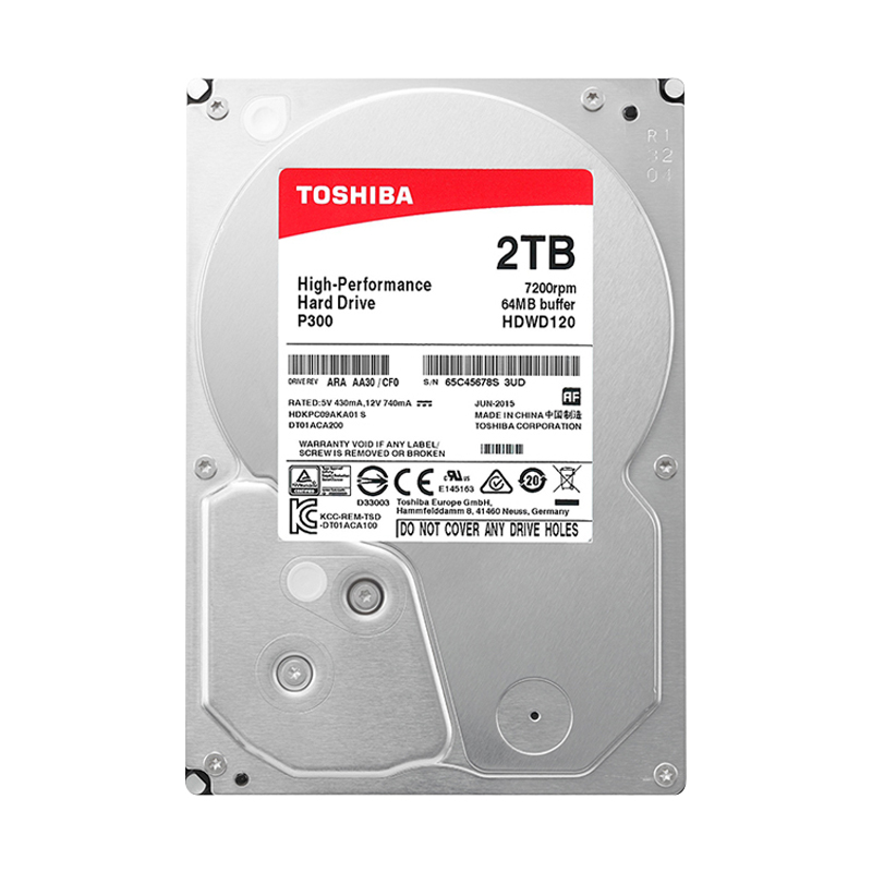 东芝台式机电脑机械硬盘2T 7200转 64M缓存 3.5英寸盒装2tb可监控