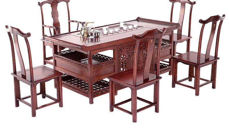 【红木 茶桌椅组合家具 中式泡茶桌 实木 仿古家具 功夫茶桌 茶台图片