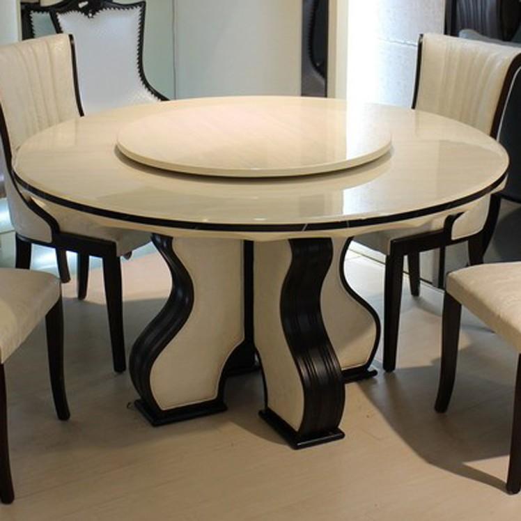 欧式简约大理石餐桌圆形小户型8人北欧圆桌餐桌椅组合带转盘饭桌