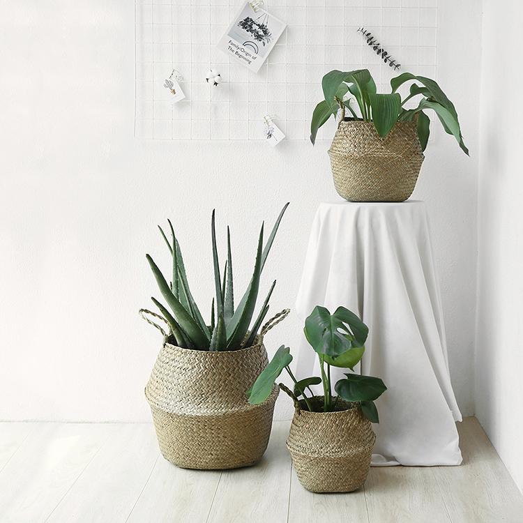 态生活ins北欧风海草编花篮 手提折叠收纳篮提篮 家居装饰植物篓