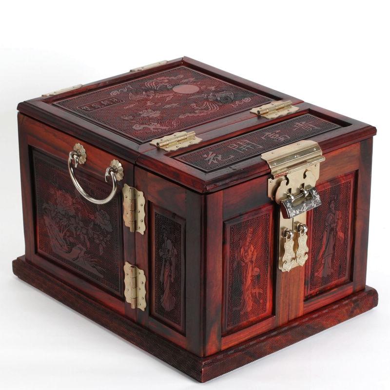 大红酸枝木首饰盒 实木雕花开富贵百宝箱 红木手饰品盒梳妆台摆件