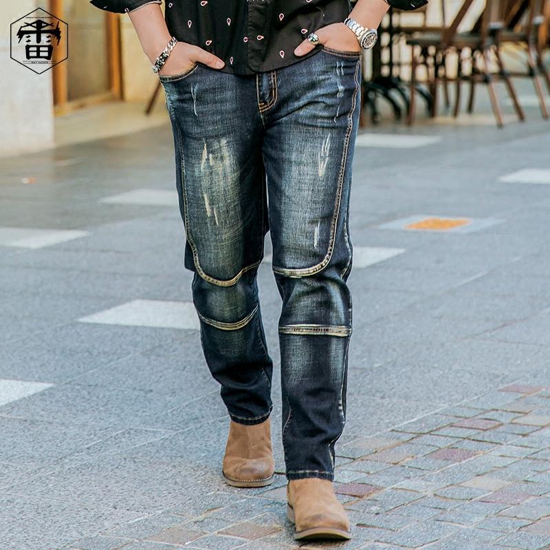 雷哈格尔大码男裤潮牌宽松肥佬春季长裤做旧加肥加大胖子牛仔裤