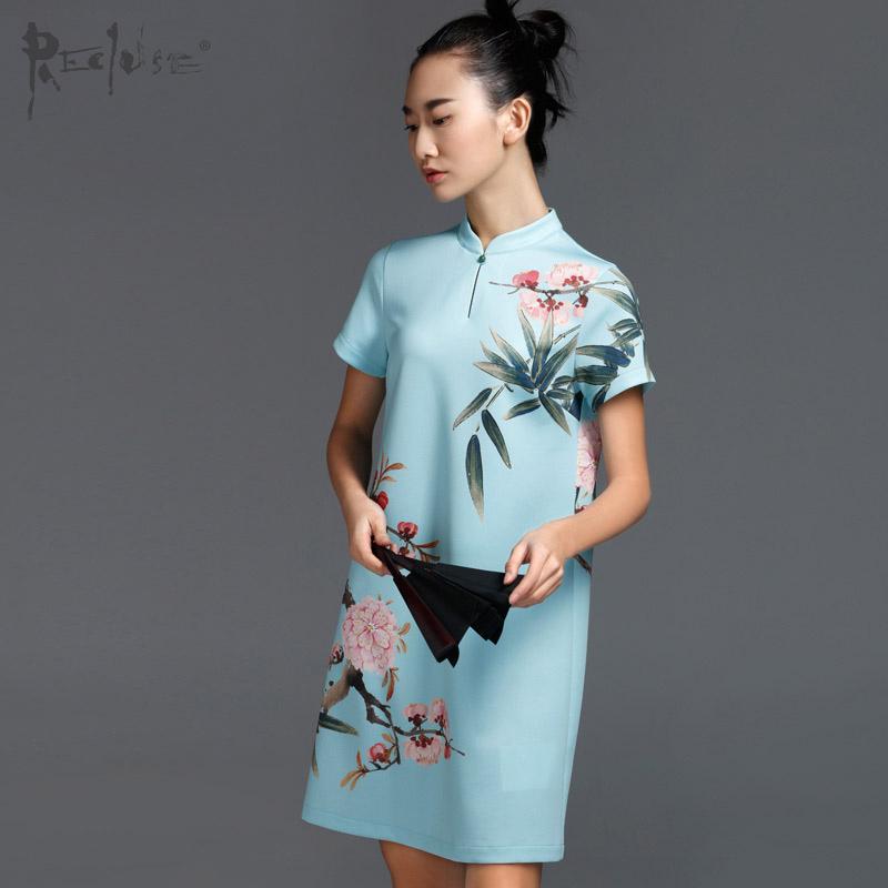 仙源-芥末原创中国风连衣裙中式复古桃花印花改良旗袍夏季新款