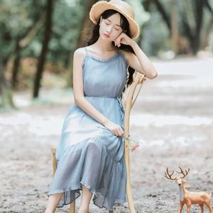 6420#【现货实拍】木耳拼接温柔吊带裙