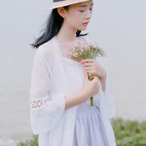 6416#【现货实拍】花边拼接喇叭袖开衫