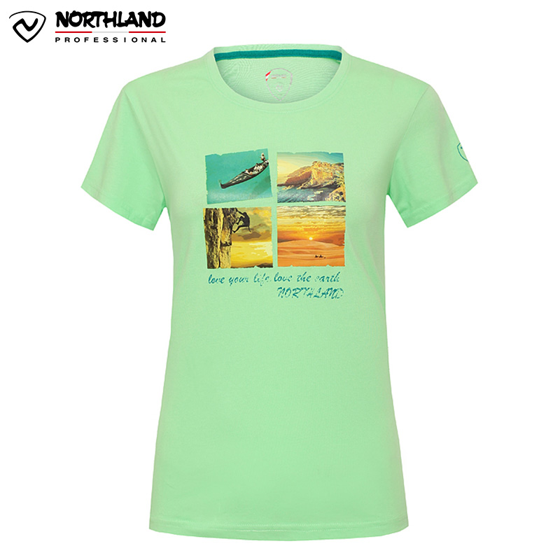 诺诗兰NORTHLAND春夏户外舒适休闲女式圆领短袖T恤印花GL052266