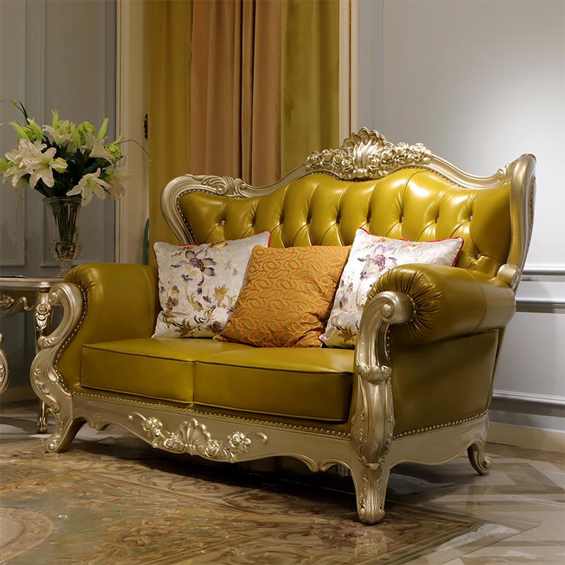 梵可可 欧式真皮沙发组合白色简约 客厅实木雕花头层牛皮法式沙发