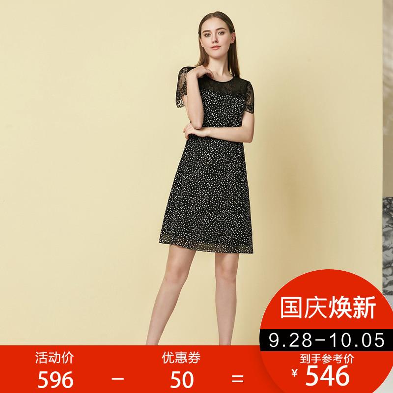欧柏兰奴圆领蕾丝拼接圆点短袖连衣裙A字型中长款TSCL0455