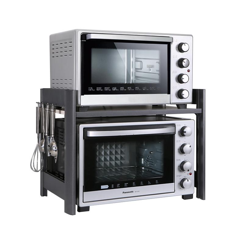 酷太烤箱架子置物架双层太空铝调料厨房台面收纳家用微波炉