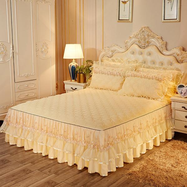 欧式夹棉床裙加厚裙式床罩单件蕾丝花边纱1.8m床套保护罩防滑...