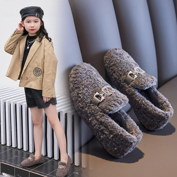 2020秋冬季新款儿童毛毛鞋女童加绒保暖平底棉鞋休闲一脚蹬豆豆鞋