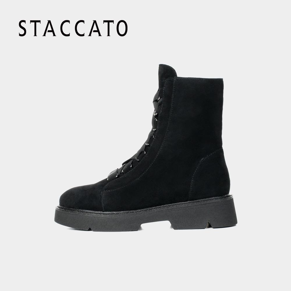 STACCATO-思加图冬季专柜同款时尚绑带女短靴R7101DD7