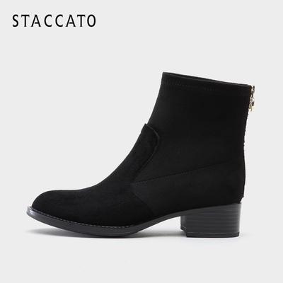 思加图2018秋冬新款专柜同款牛皮时尚方跟百搭女短靴子R5101DD8