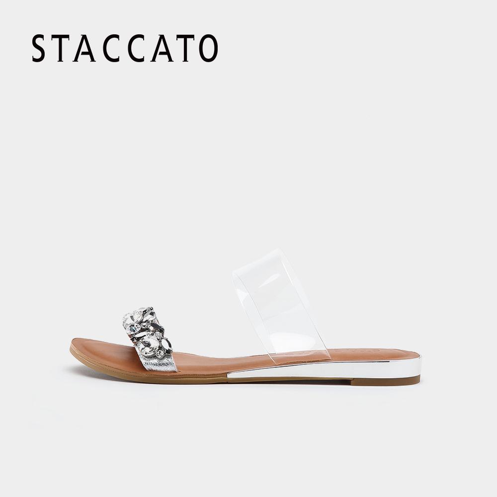 思加图2018夏季专柜同款时尚水钻平底休闲女凉拖鞋9JI12BT8