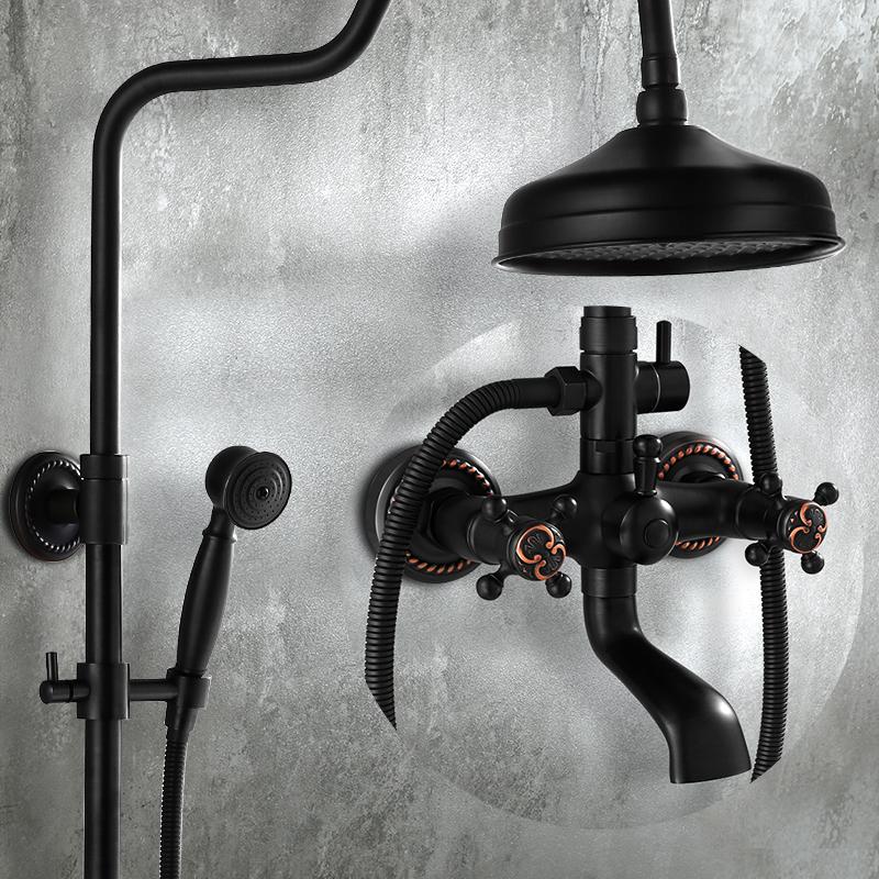 家用卫生间全铜黑色恒温花洒套装浴室明装淋浴器淋雨喷头挂墙式