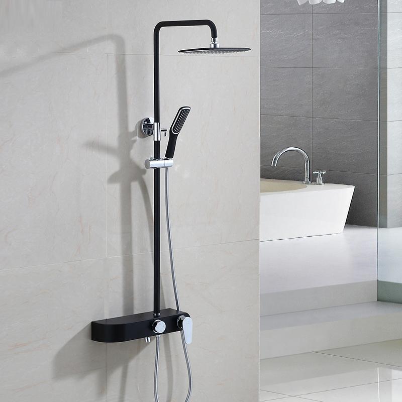 大卫伯爵花洒套装 家用 全铜 升降淋浴套装组合 挂墙式 黑色花洒
