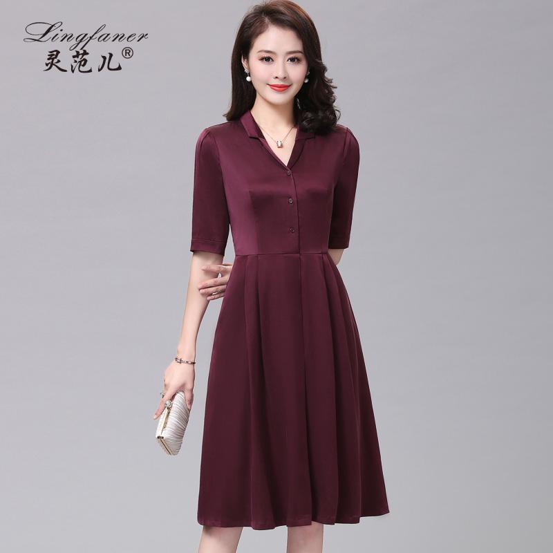 重磅真丝连衣裙女2018新款杭州丝绸中年妈妈中袖修身桑蚕丝裙子夏