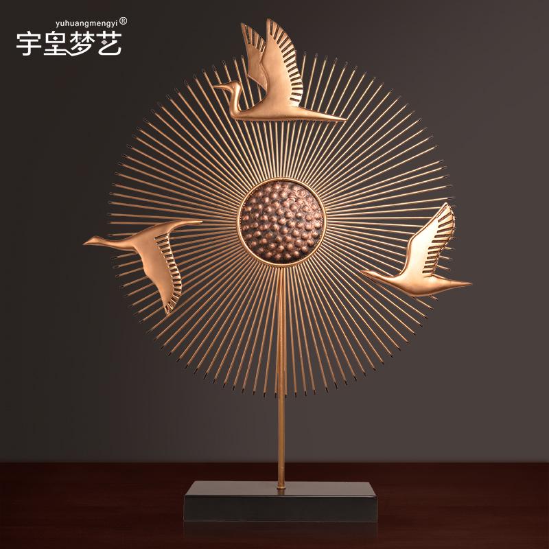 新中式玄关摆件创意客厅电视柜角几现代简约仙鹤装饰品摆设工艺品