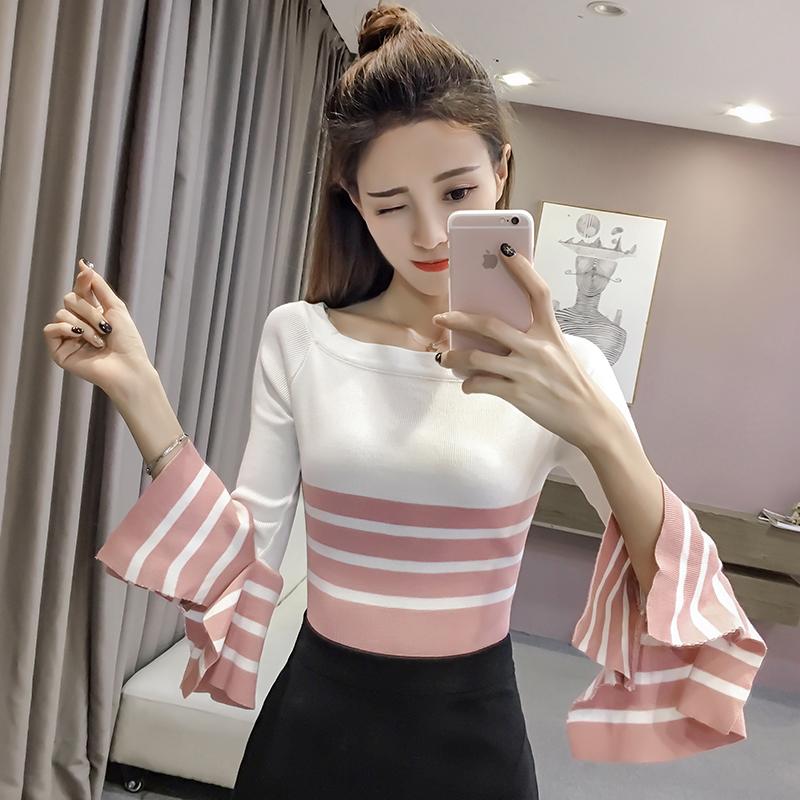 2017新款针织衫女冰丝短款t恤修身一字领拼接喇叭袖打底上衣