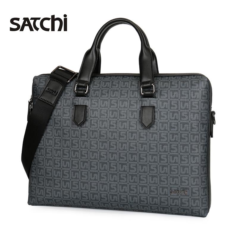 Satchi-沙驰男包手提包 男士商务公文包时尚印花斜挎包男大容量包