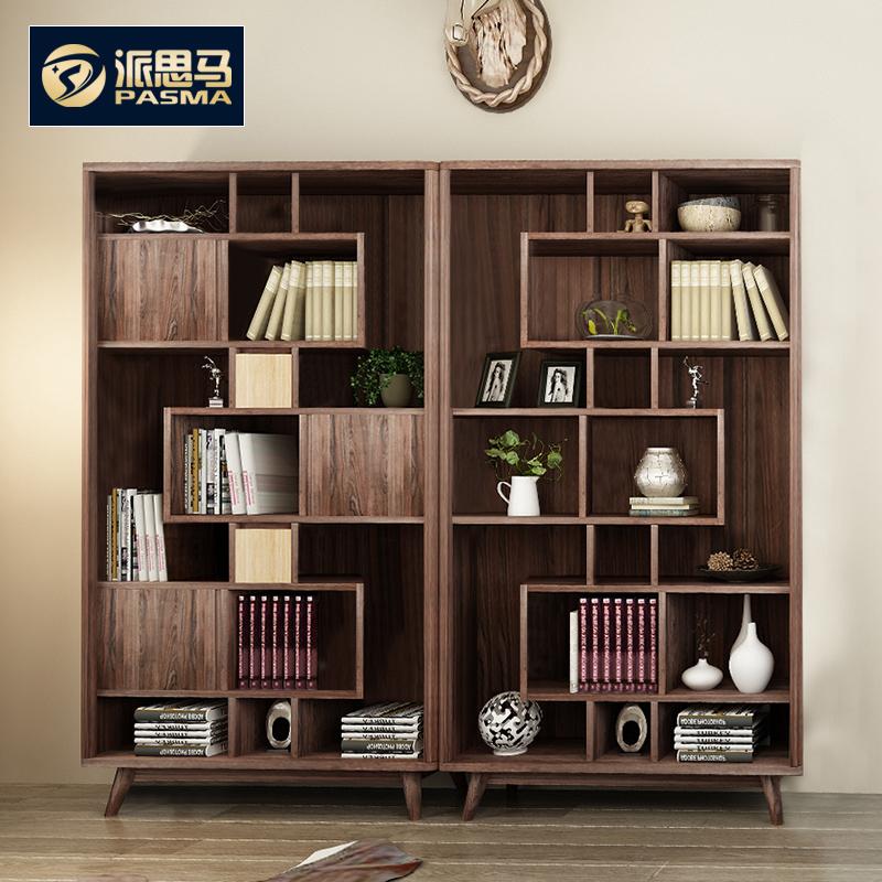 派思马 自由组合实木书柜 简约现代书房带门书橱北欧实木书柜