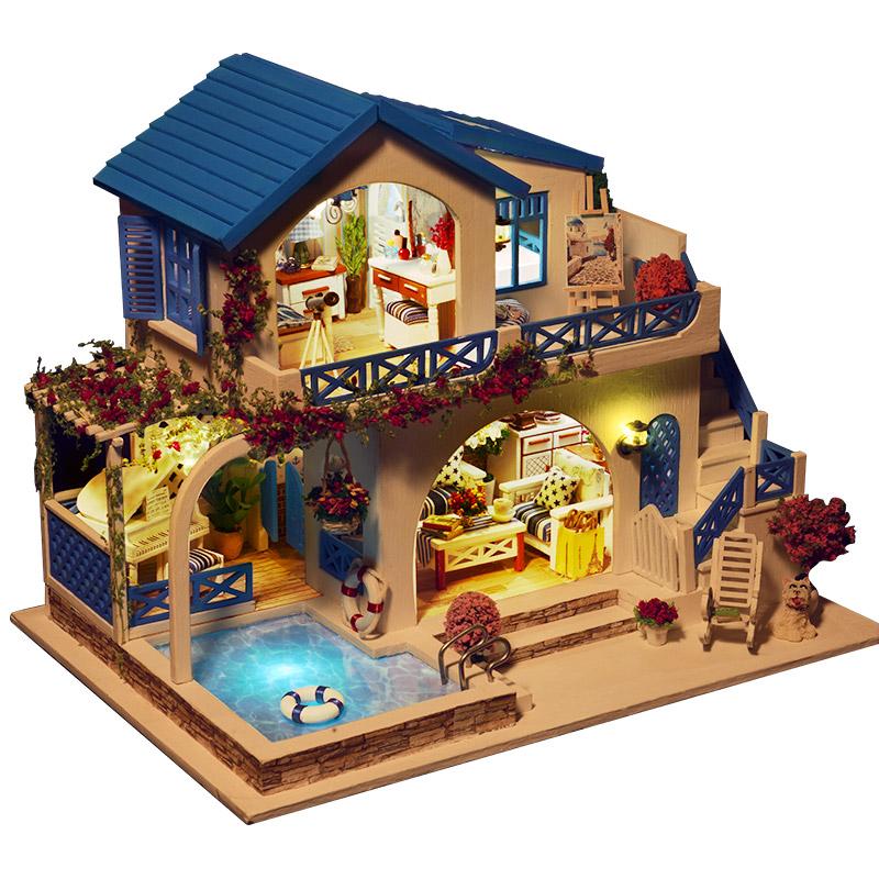 手工diy小屋子迷你小房子模型创意艺术玩具屋超大拼装别墅公主房