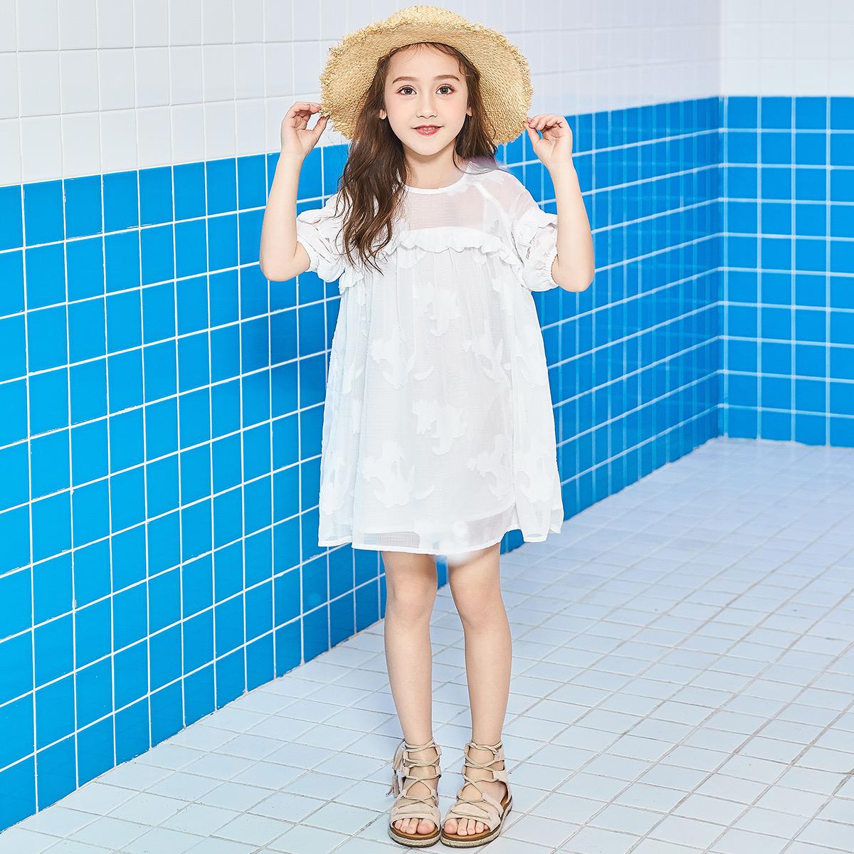 衣品天成童装2018夏装新款女童公主裙中大儿童短袖洋气连衣裙子