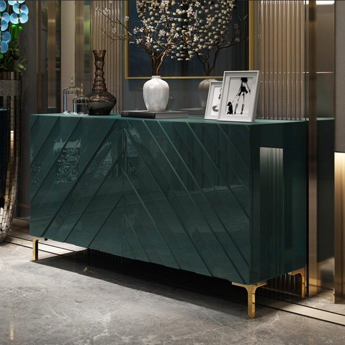 轻奢后现代简约餐边柜不锈钢餐厅柜子烤漆储物柜餐柜茶水柜玄关柜