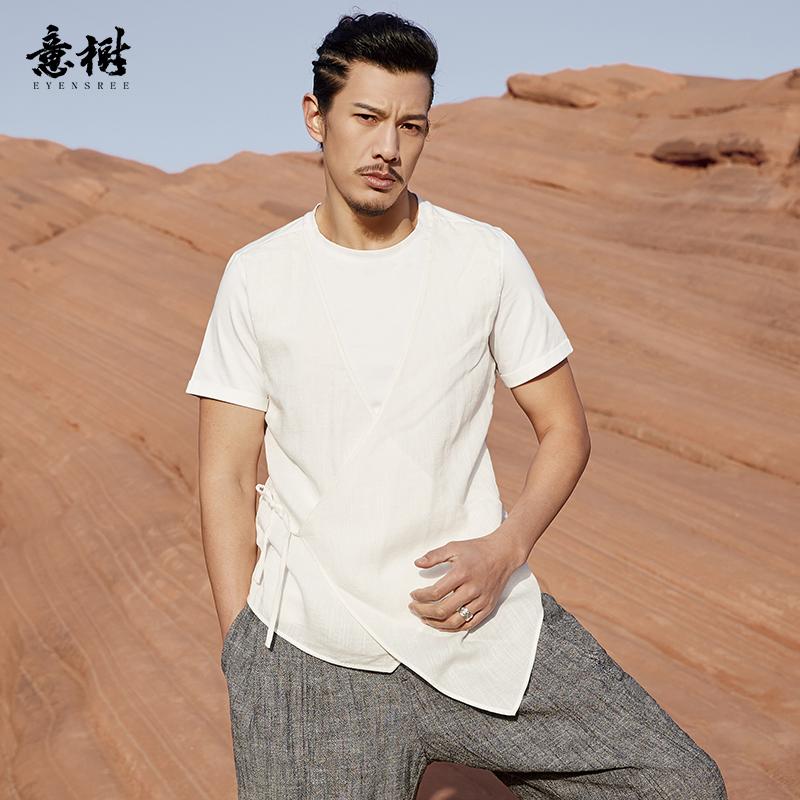 意树中国风原创男装短袖棉质T恤中式改良系带圆领个性上衣纯色