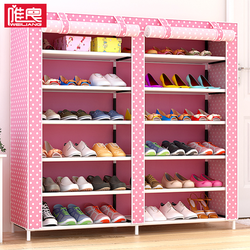 Simple shoe rack multi-storey dormitory female dust cloth shoe storage door small shoes shelf home economy type space
